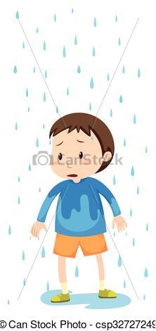 Boy clipart wet Of Boy rain illustration in