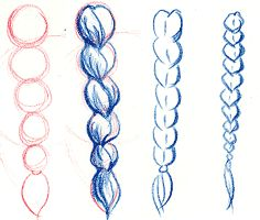 Drawn braid coloring hair How pencil Google draw step
