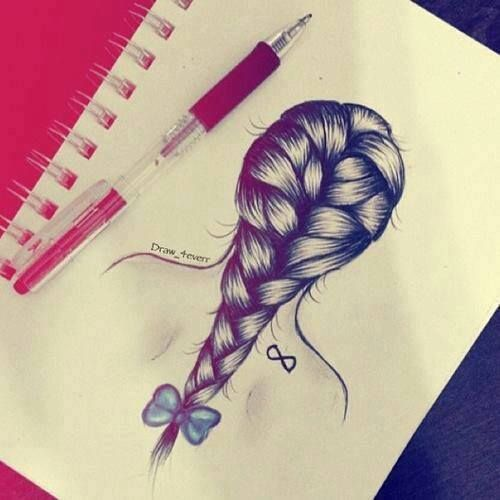 Drawn braid coloring hair Beautiful drawing on fashion Pinterest