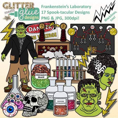 Brain clipart zombie brain Halloween {Test Science Bottle Chemistry