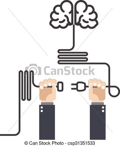Brain clipart turn Plug of on Vectors brain