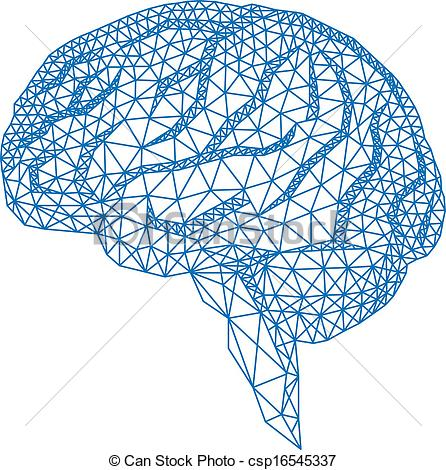 Drawn brains skull Blue with vecto geometric of