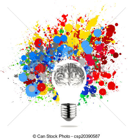 Colouful clipart light bulb Metal 3d light in brain