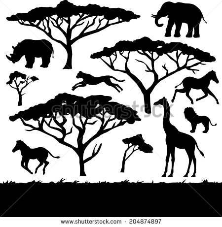 Branch clipart african tree Animals black and of African