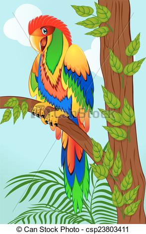 Parrot clipart tree drawing Clip branch on of Art