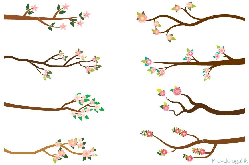 Branch clipart flower branch Art tree clipart branches summer