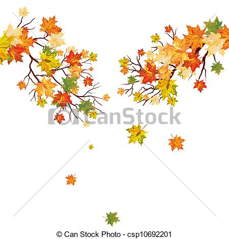 Drawn branch Of maple falling Autumn maple