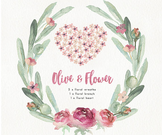 Branch clipart animated Pastel Hand Watercolor invitation design