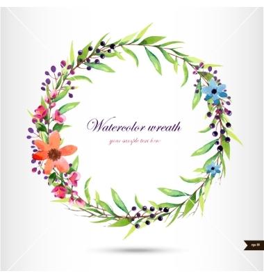 Branch clipart watercolor Wreath Watercolor with vector foliage
