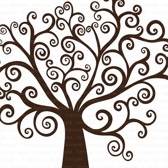 Branch clipart whimsical tree Tree Digital Download Silhouette Wish