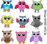 Brds clipart nine Clipart Owls Illustrations owls free