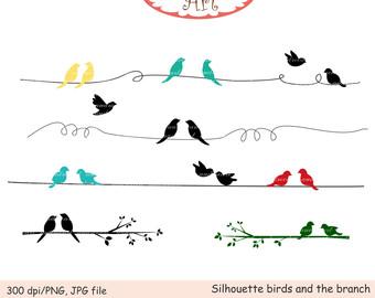 Brds clipart wire Clip branch bird blue art