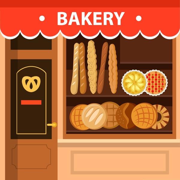 Display clipart baker Bakery display vector facade