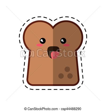 Bread clipart kawaii Line Vectors icon sliced line