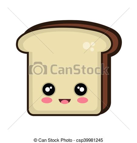 Bread clipart kawaii Vector kawaii slice cartoon