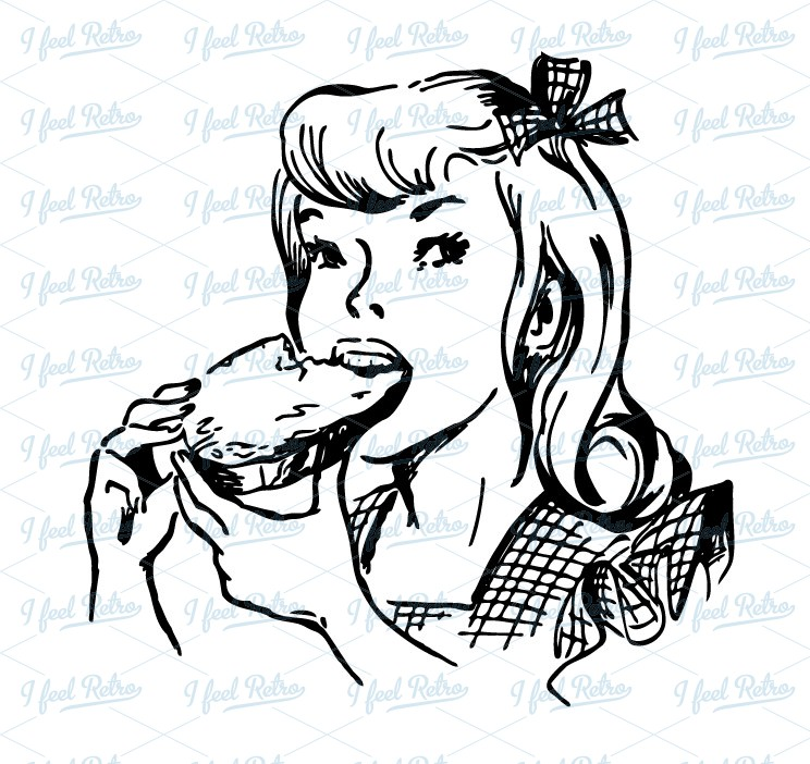 Bread clipart vintage Girl Vintage eating  Authentic