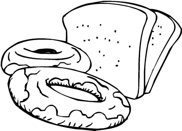 Bread Roll clipart coloring page Of Colouring Bread Slices Bread