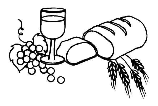 Bread Roll clipart coloring page And White Bread Wine Colouring