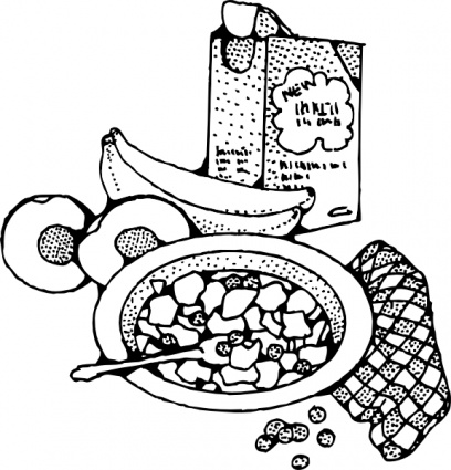 Cereal clipart black and white Breakfast Art Black Breakfast And