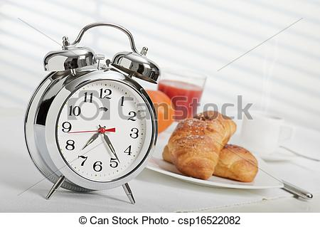 Breakfast clipart breakfast time Clock with alarm Stock seven