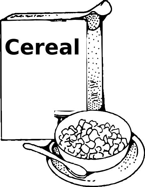 Cereal clipart black and white Black White Clipart Black Breakfast