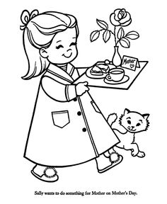 Breakfast clipart coloring page Mom coloring Printable Mothers Day