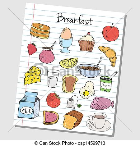 Breakfast clipart doodle Art Breakfast Illustration doodles paper