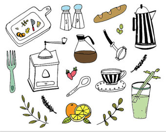 Breakfast clipart doodle Etsy Elements Drawn Breakfast Food