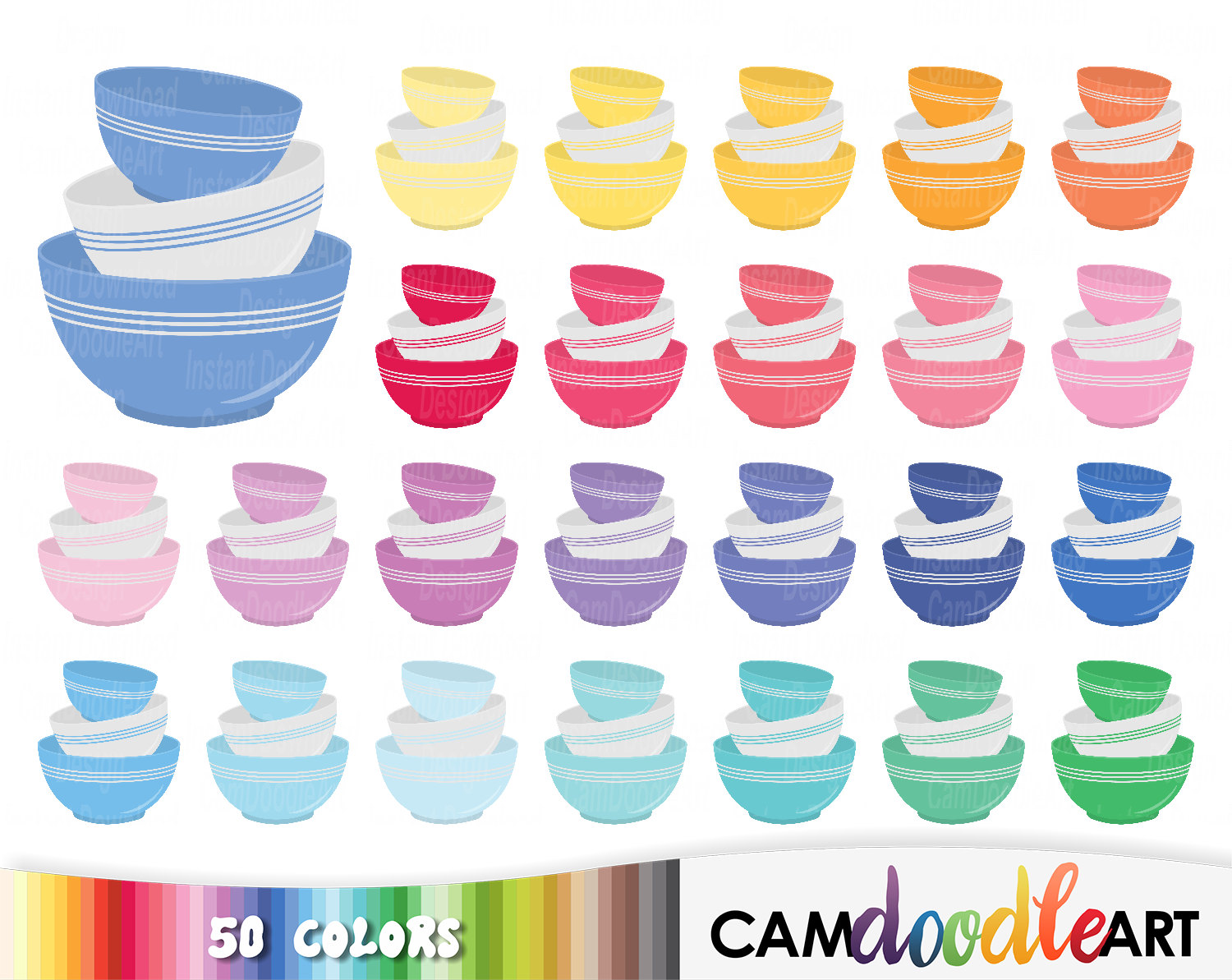 Breakfast clipart food dish Bowls digital is 50 Kitchen
