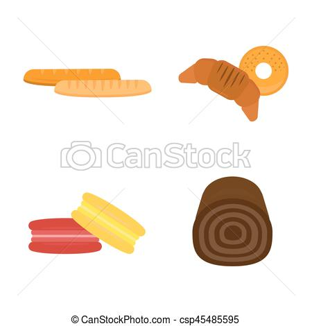Breakfast clipart grain product Vectors Vector loaf grain macaroon