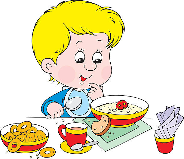 Breakfast clipart kid breakfast Collection Cartoon Child Breakfast Eating