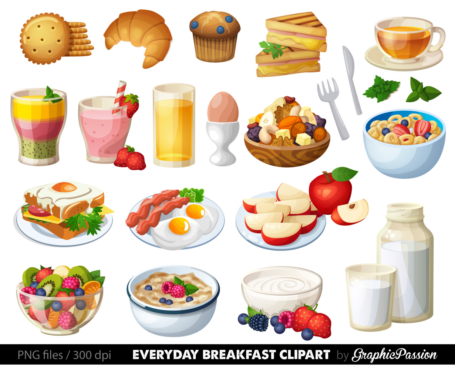 Breakfast clipart meal Cake clip art Breakfast Etsy