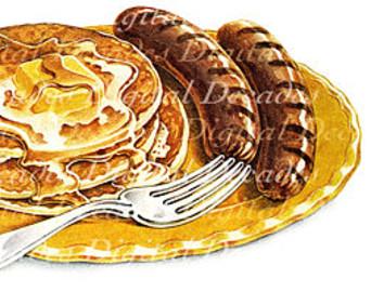 Pancake clipart pancake sausage Pancakes Digital art Sausage Pancake