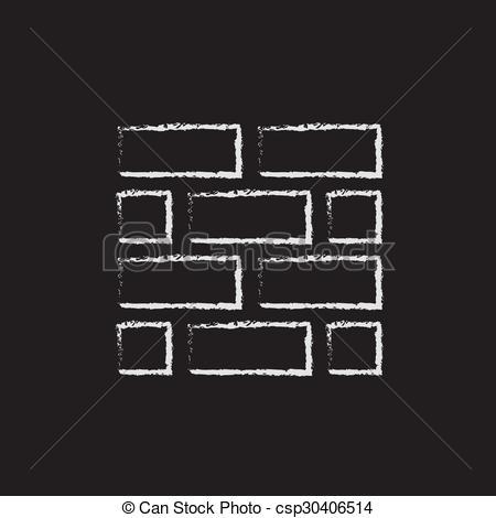Brick clipart drawn Icon a chalk Bricks blackboard