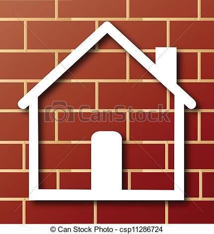 Brick clipart logo Logo Vector icon with House