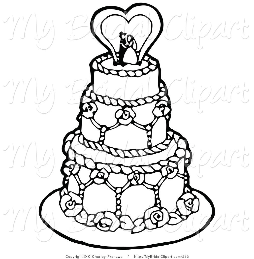 Drawn wedding cake layer cake #10