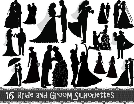 Country clipart bride and groom Groomsman Silhouettes Digital 16 Instant