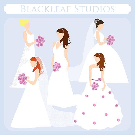 Bride clipart bride bridesmaid Instant Art wedding Clip Silhouettes