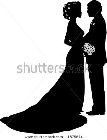 Wedding Dress clipart bride and groom silhouette Clipart Silhouette Clip collection white