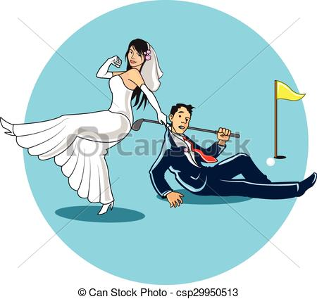 Bride clipart broom Golfer Golf of Married Clip