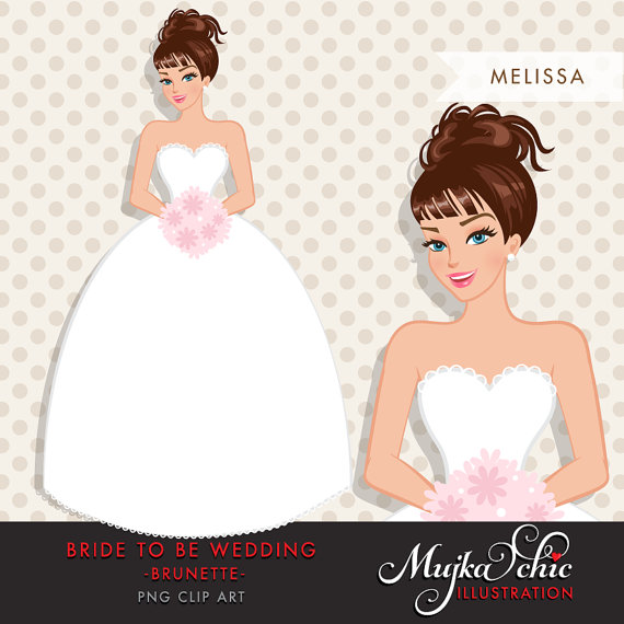 Brunette clipart woman manager Wedding Clipart character  Bride