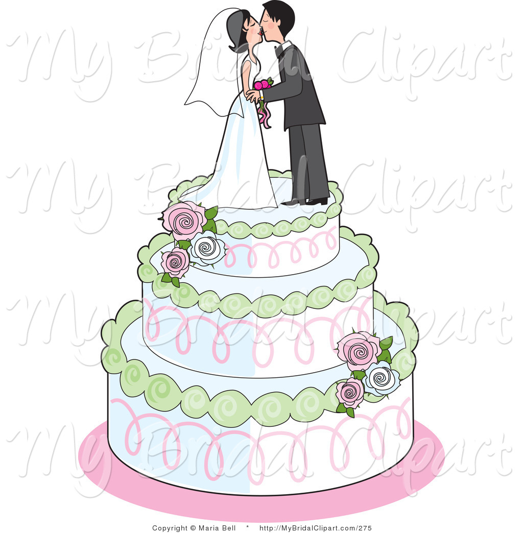 Elegance  clipart vector Bride Couple and Cakes with