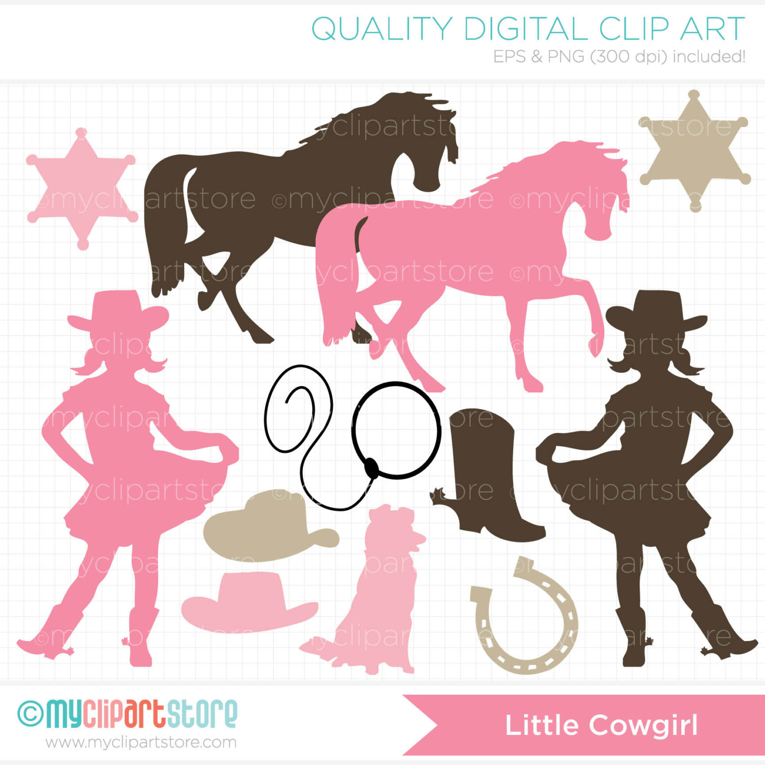Cowgirl clipart little cowgirl Wild pink west silhouette Digital