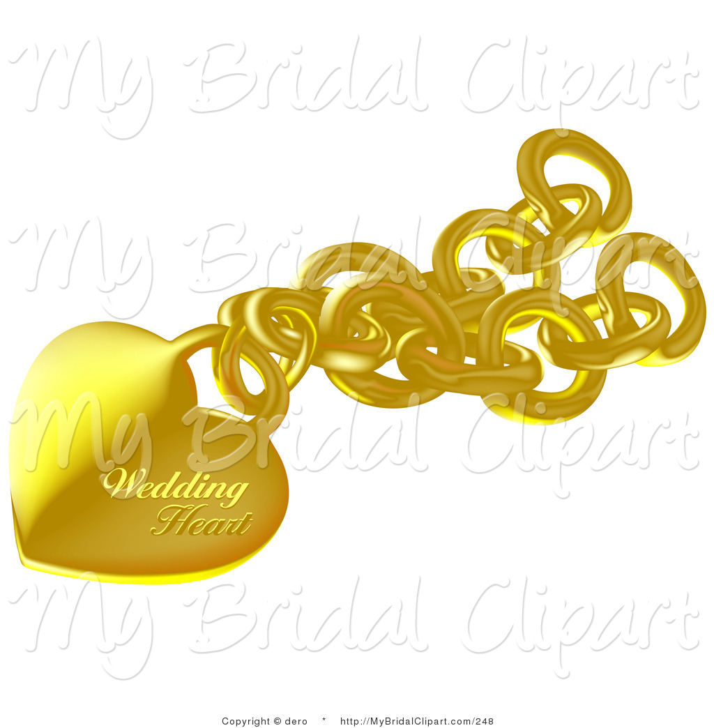 Bride clipart gold heart By of Pendant a Gold