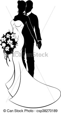 Bride clipart husband Bride csp38270189 Silhouette Vector Wife