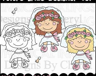 Bride clipart kid Kids Clipart Instant Set Bride