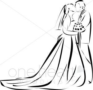 Wedding clipart outline  Bride The Kiss Clipart