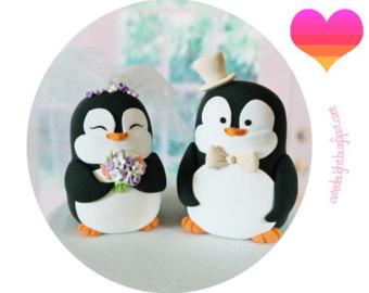 Drawn penguin cristmas Penguins cake cake Topper wedding