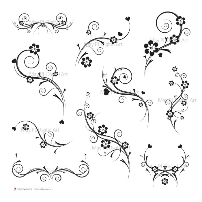 Damask clipart elegant scroll And Art Flourish Clip Invitation