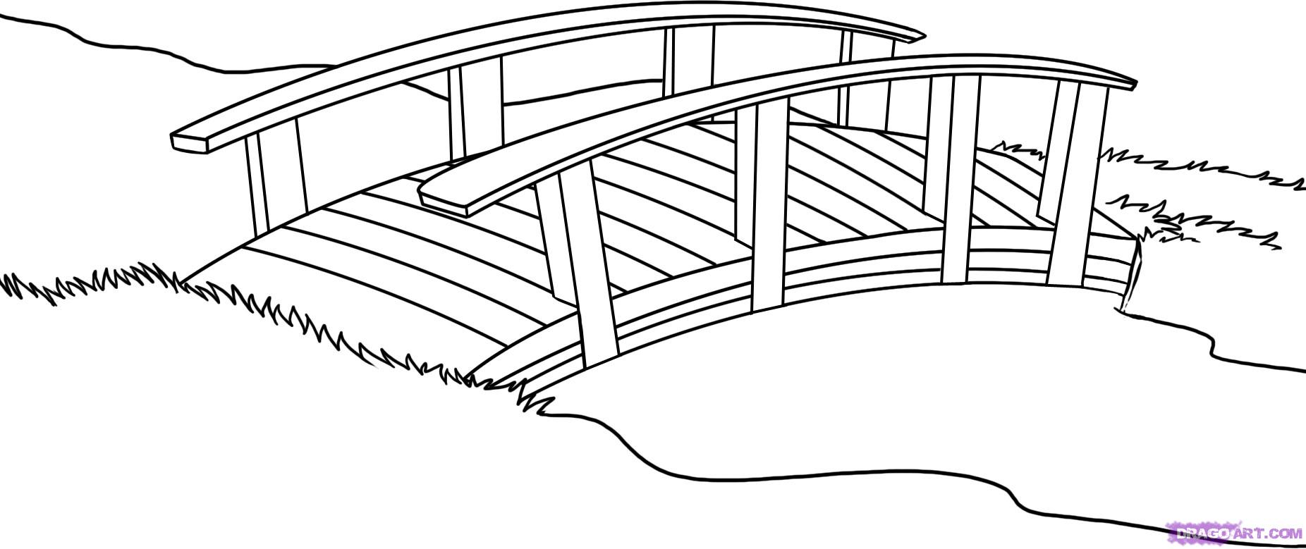 Drawn bridge landscape Clip of clip 5 clipart